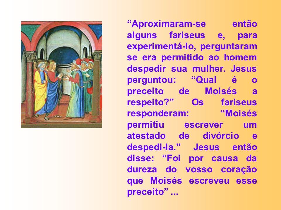 Aproximaram-se então alguns fariseus e, para experimentá-lo, perguntaram se era permitido ao homem despedir sua mulher. Jesus perguntou: Qual é o prec