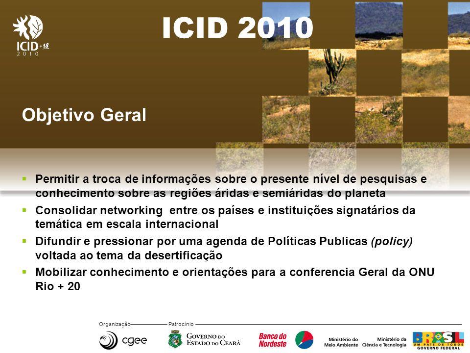 Organização Patrocínio ICID 2010 Objetivo Geral Permitir a troca de informações sobre o presente nível de pesquisas e conhecimento sobre as regiões ár