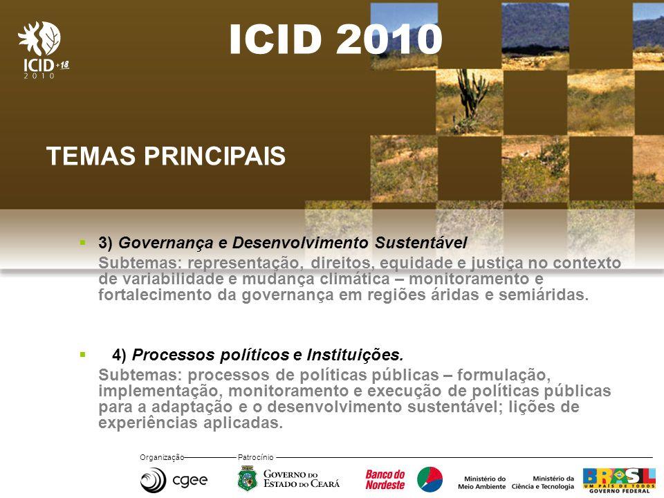 Organização Patrocínio ICID 2010 TEMAS PRINCIPAIS 3) Governança e Desenvolvimento Sustentável Subtemas: representação, direitos, equidade e justiça no contexto de variabilidade e mudança climática – monitoramento e fortalecimento da governança em regiões áridas e semiáridas.