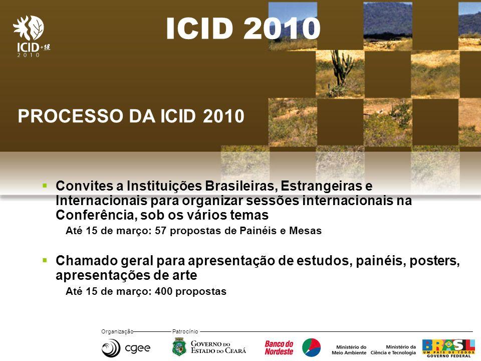 Organização Patrocínio ICID 2010 PROCESSO DA ICID 2010 Convites a Instituições Brasileiras, Estrangeiras e Internacionais para organizar sessões inter
