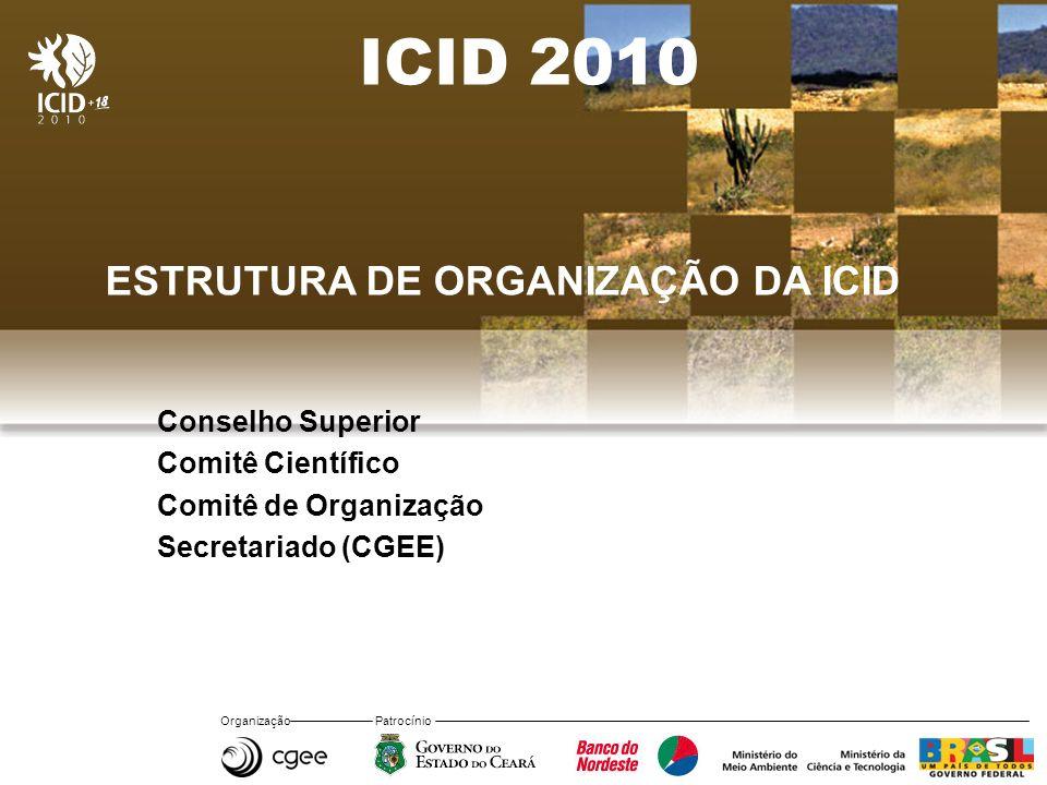 Organização Patrocínio ICID 2010 ESTRUTURA DE ORGANIZAÇÃO DA ICID Conselho Superior Comitê Científico Comitê de Organização Secretariado (CGEE)