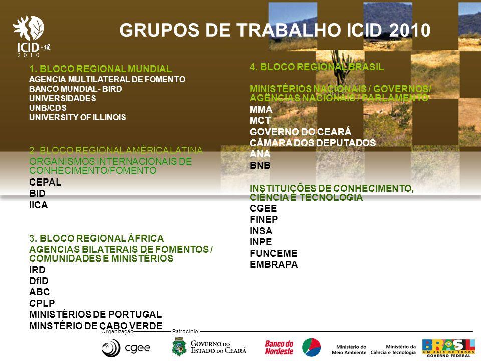 Organização Patrocínio GRUPOS DE TRABALHO ICID 2010 1. BLOCO REGIONAL MUNDIAL AGENCIA MULTILATERAL DE FOMENTO BANCO MUNDIAL- BIRD UNIVERSIDADES UNB/CD