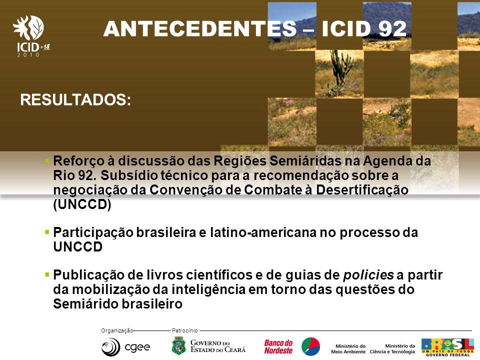Organização Patrocínio ANTECEDENTES – ICID 92 RESULTADOS: Reforço à discussão das Regiões Semiáridas na Agenda da Rio 92. Subsídio técnico para a reco