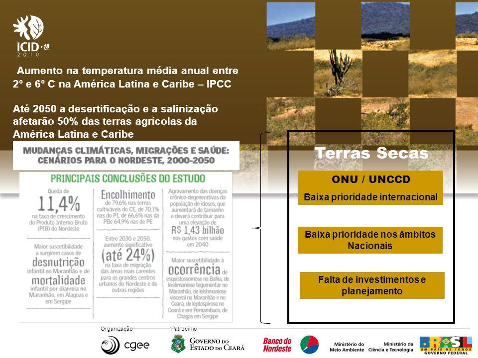Organização Patrocínio Aumento na temperatura média anual entre 2° e 6° C na América Latina e Caribe – IPCC Até 2050 a desertificação e a salinização afetarão 50% das terras agrícolas da América Latina e Caribe ONU / UNCCD Baixa prioridade internacional Baixa prioridade nos âmbitos Nacionais Falta de investimentos e planejamento Terras Secas