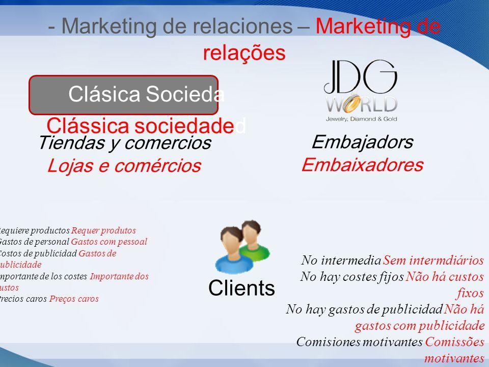 - Marketing de relaciones – Marketing de relações Clásica Socieda Clássica sociedaded Embajadors Embaixadores Tiendas y comercios Lojas e comércios Cl
