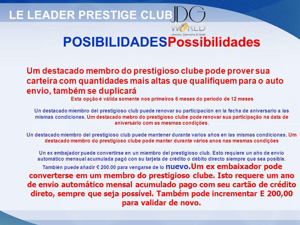 Statut LE LEADER PRESTIGE CLUB POSIBILIDADESPossibilidades Um destacado membro do prestigioso clube pode prover sua carteira com quantidades mais alta