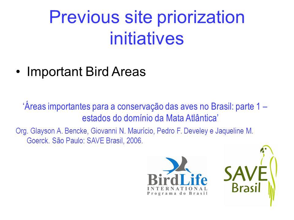Important Bird Areas Áreas importantes para a conservação das aves no Brasil: parte 1 – estados do domínio da Mata Atlântica Org. Glayson A. Bencke, G