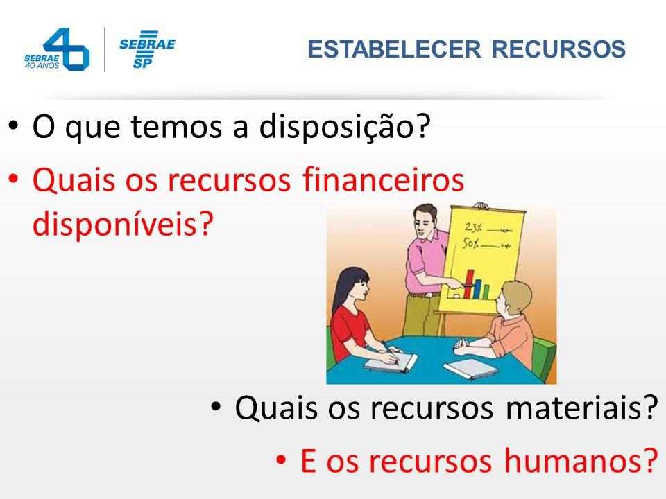 ESTABELECER RECURSOS Quais os recursos materiais? E os recursos humanos? O que temos a disposição? Quais os recursos financeiros disponíveis?