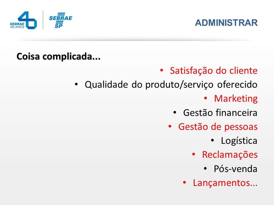ADMINISTRAR Coisa complicada... Satisfação do cliente Qualidade do produto/serviço oferecido Marketing Gestão financeira Gestão de pessoas Logística R