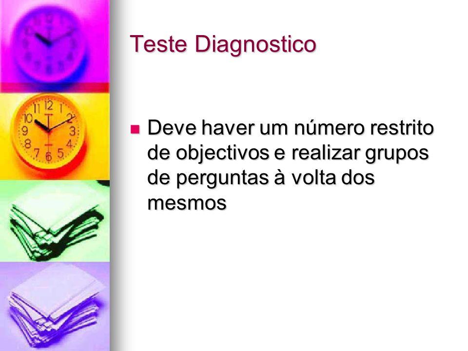 Teste Diagnostico Deve haver um número restrito de objectivos e realizar grupos de perguntas à volta dos mesmos Deve haver um número restrito de objec