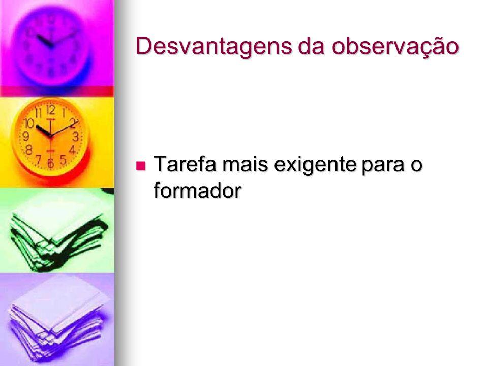 Desvantagens da observação Tarefa mais exigente para o formador Tarefa mais exigente para o formador
