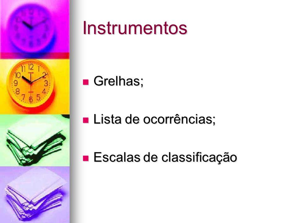 Instrumentos Grelhas; Grelhas; Lista de ocorrências; Lista de ocorrências; Escalas de classificação Escalas de classificação