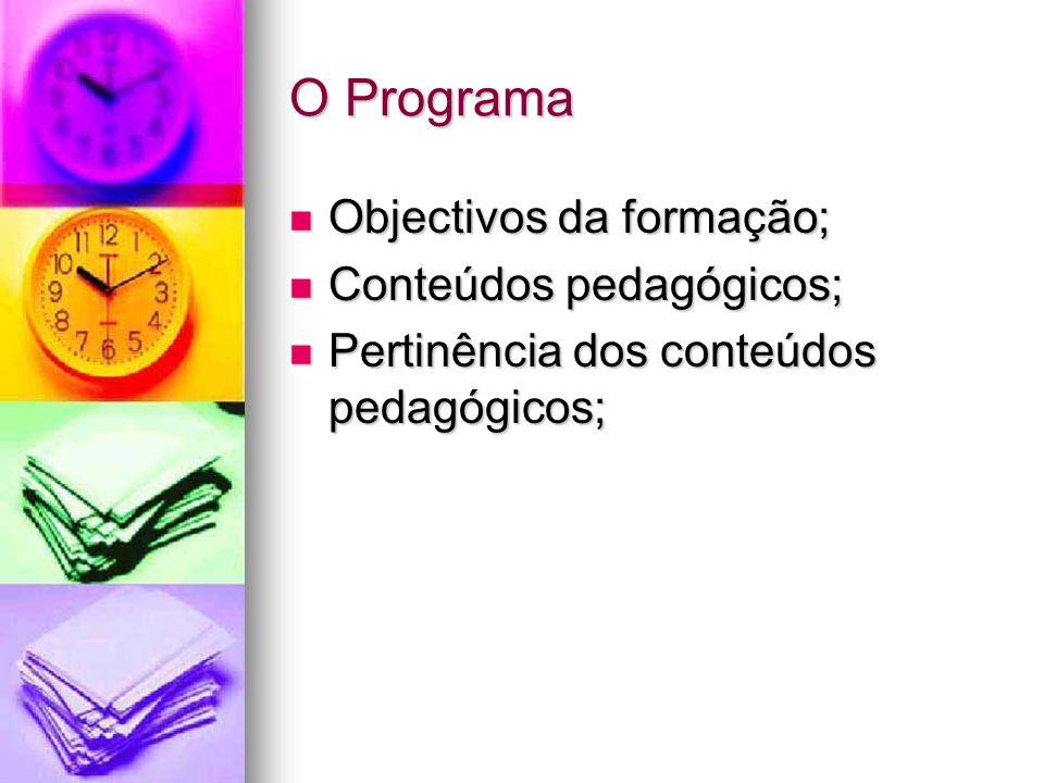 O Programa Objectivos da formação; Objectivos da formação; Conteúdos pedagógicos; Conteúdos pedagógicos; Pertinência dos conteúdos pedagógicos; Pertin