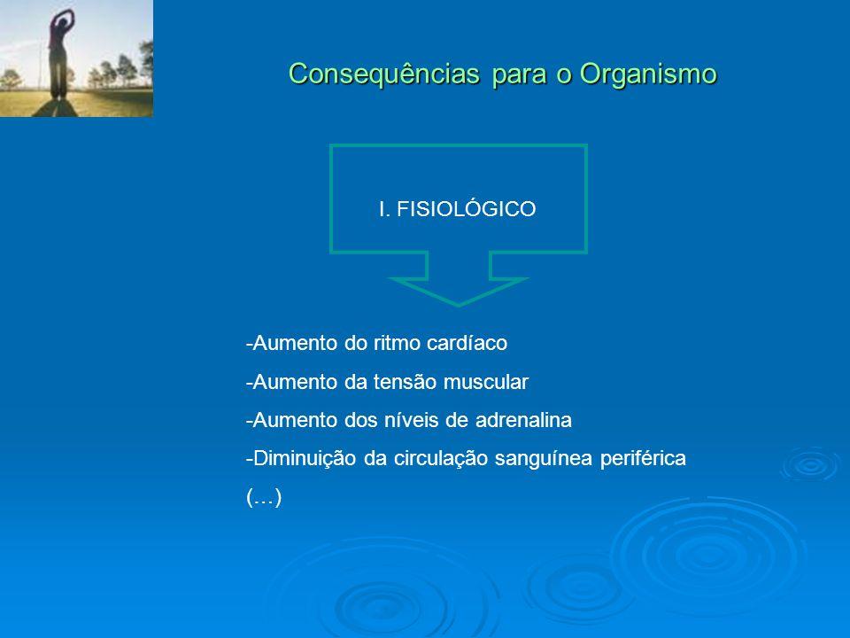 Consequências para o Organismo I. FISIOLÓGICO -Aumento do ritmo cardíaco -Aumento da tensão muscular -Aumento dos níveis de adrenalina -Diminuição da