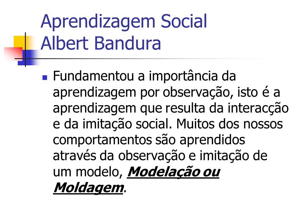 Aprendizagem Social Albert Bandura Fundamentou a importância da aprendizagem por observação, isto é a aprendizagem que resulta da interacção e da imit