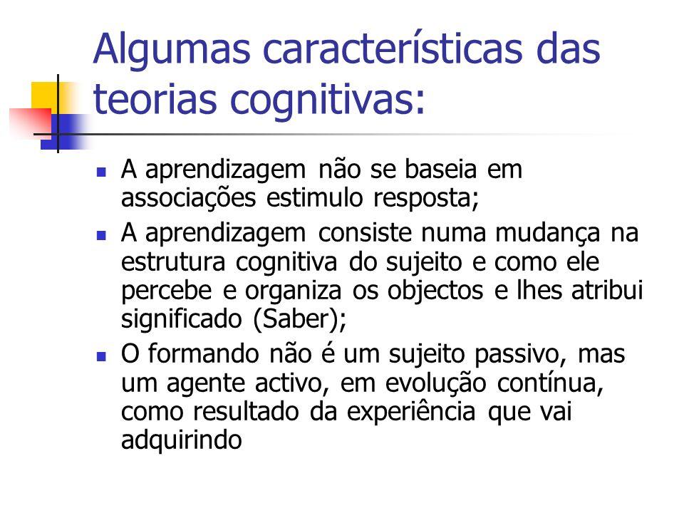 Algumas características das teorias cognitivas: A aprendizagem não se baseia em associações estimulo resposta; A aprendizagem consiste numa mudança na