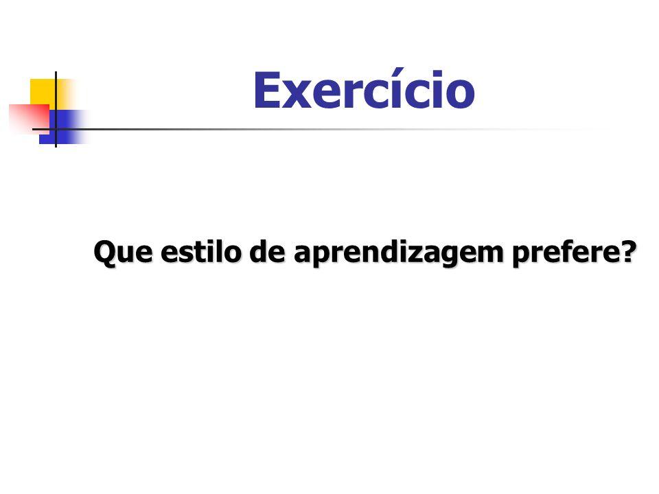 Exercício Que estilo de aprendizagem prefere?