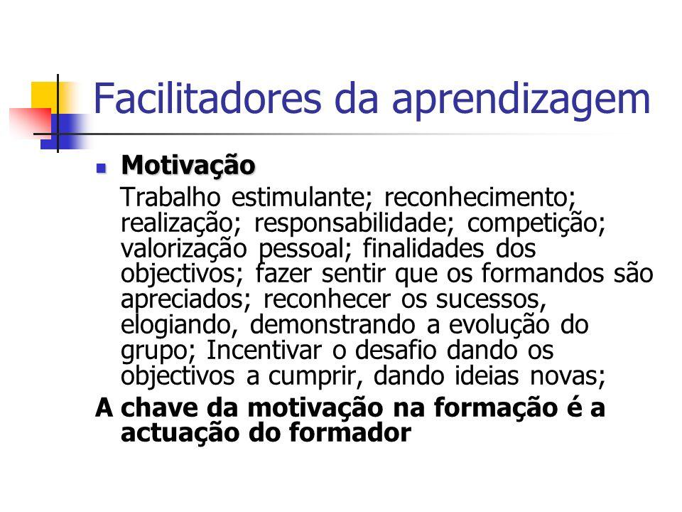 Facilitadores da aprendizagem Motivação Motivação Trabalho estimulante; reconhecimento; realização; responsabilidade; competição; valorização pessoal;