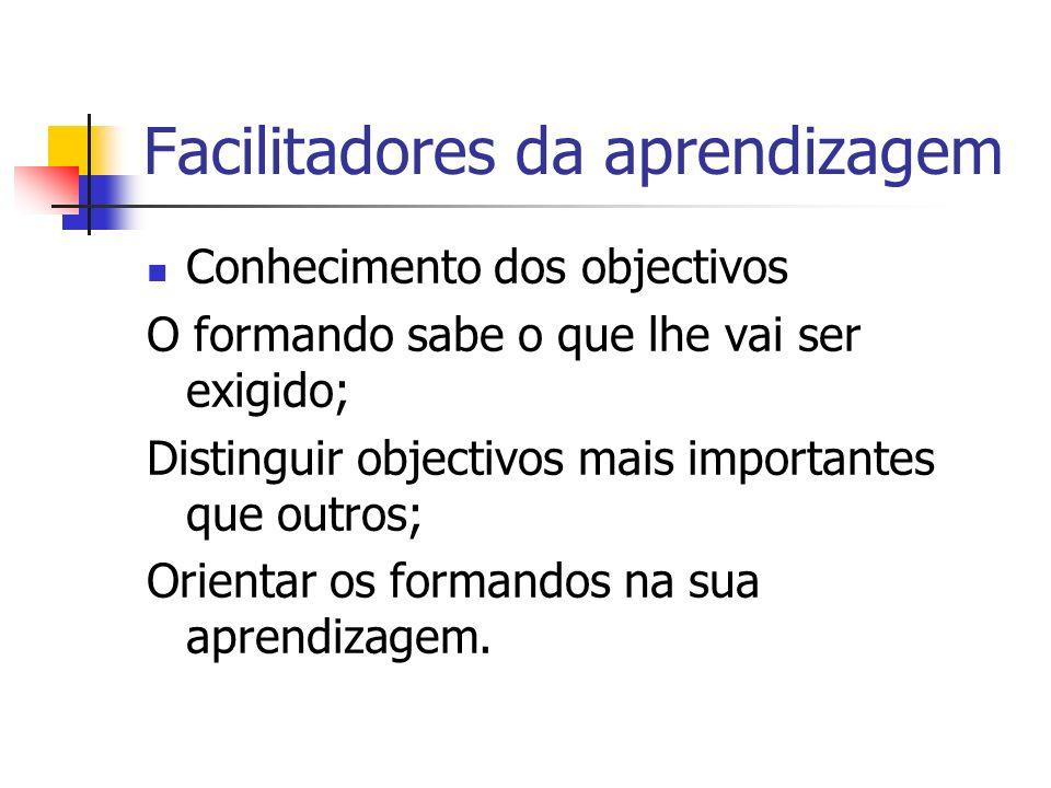 Facilitadores da aprendizagem Conhecimento dos objectivos O formando sabe o que lhe vai ser exigido; Distinguir objectivos mais importantes que outros