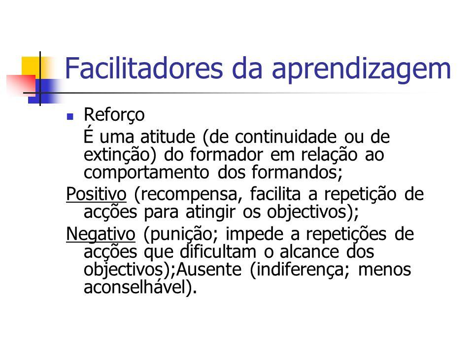 Facilitadores da aprendizagem Reforço É uma atitude (de continuidade ou de extinção) do formador em relação ao comportamento dos formandos; Positivo (