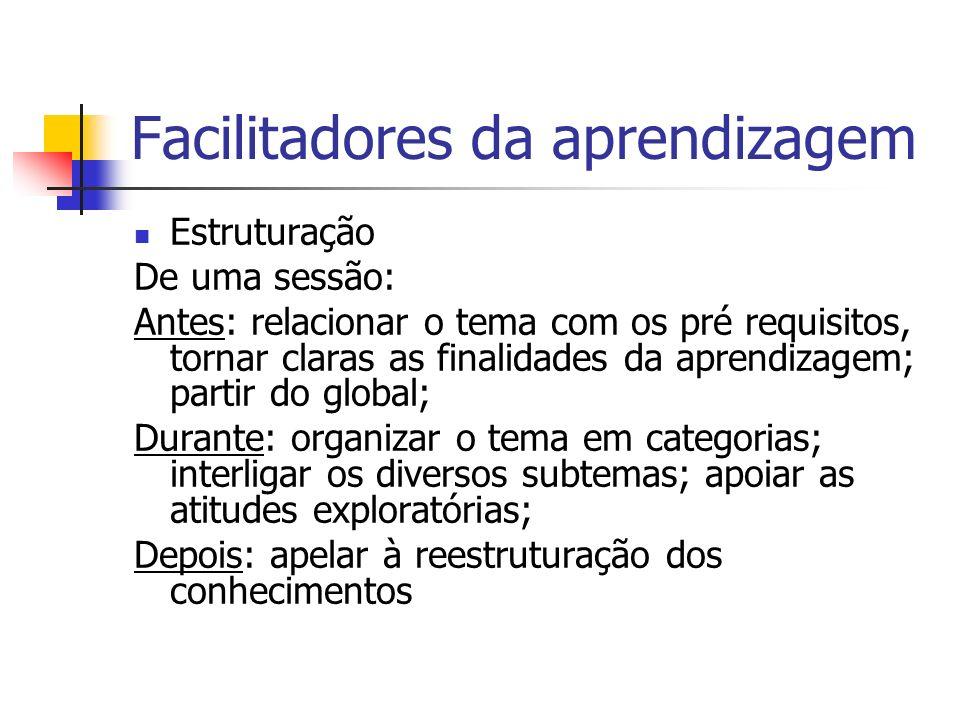 Facilitadores da aprendizagem Estruturação De uma sessão: Antes: relacionar o tema com os pré requisitos, tornar claras as finalidades da aprendizagem