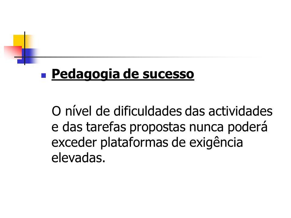 Pedagogia de sucesso O nível de dificuldades das actividades e das tarefas propostas nunca poderá exceder plataformas de exigência elevadas.