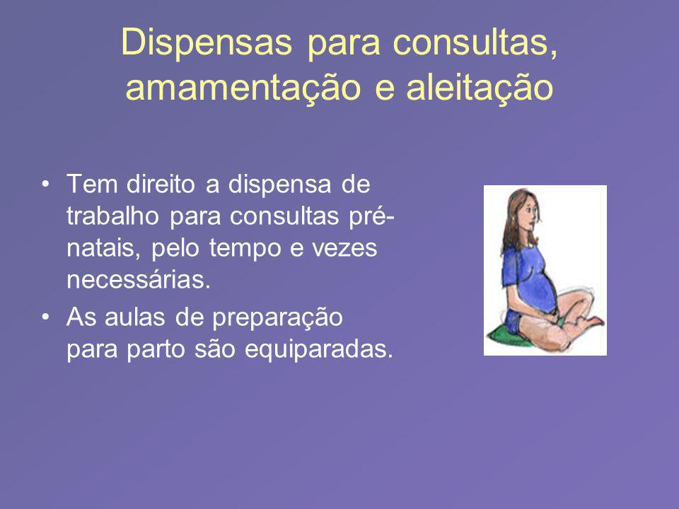 Dispensas para consultas, amamentação e aleitação Tem direito a dispensa de trabalho para consultas pré- natais, pelo tempo e vezes necessárias. As au