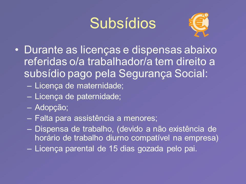 Subsídios Durante as licenças e dispensas abaixo referidas o/a trabalhador/a tem direito a subsídio pago pela Segurança Social: –Licença de maternidad