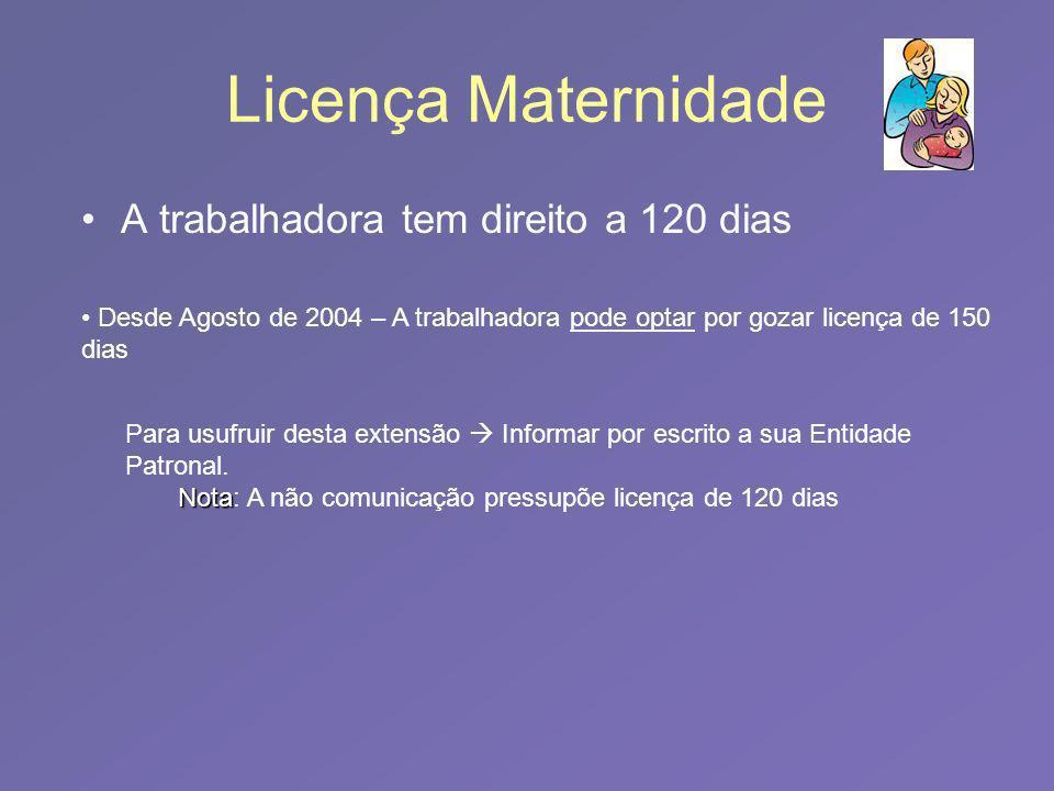Licença Maternidade A trabalhadora tem direito a 120 dias Desde Agosto de 2004 – A trabalhadora pode optar por gozar licença de 150 dias Para usufruir desta extensão Informar por escrito a sua Entidade Patronal.