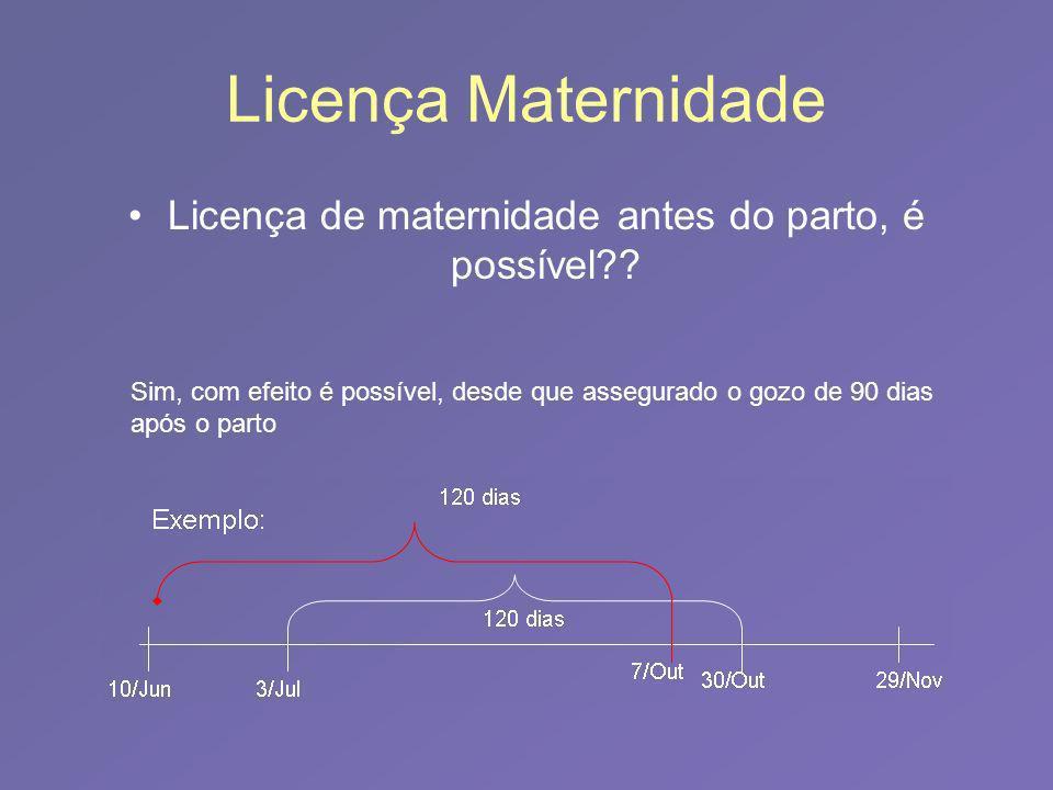 Licença Maternidade Licença de maternidade antes do parto, é possível?? Sim, com efeito é possível, desde que assegurado o gozo de 90 dias após o part