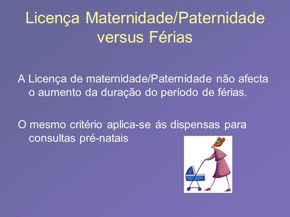 Licença Maternidade/Paternidade versus Férias A Licença de maternidade/Paternidade não afecta o aumento da duração do período de férias. O mesmo crité