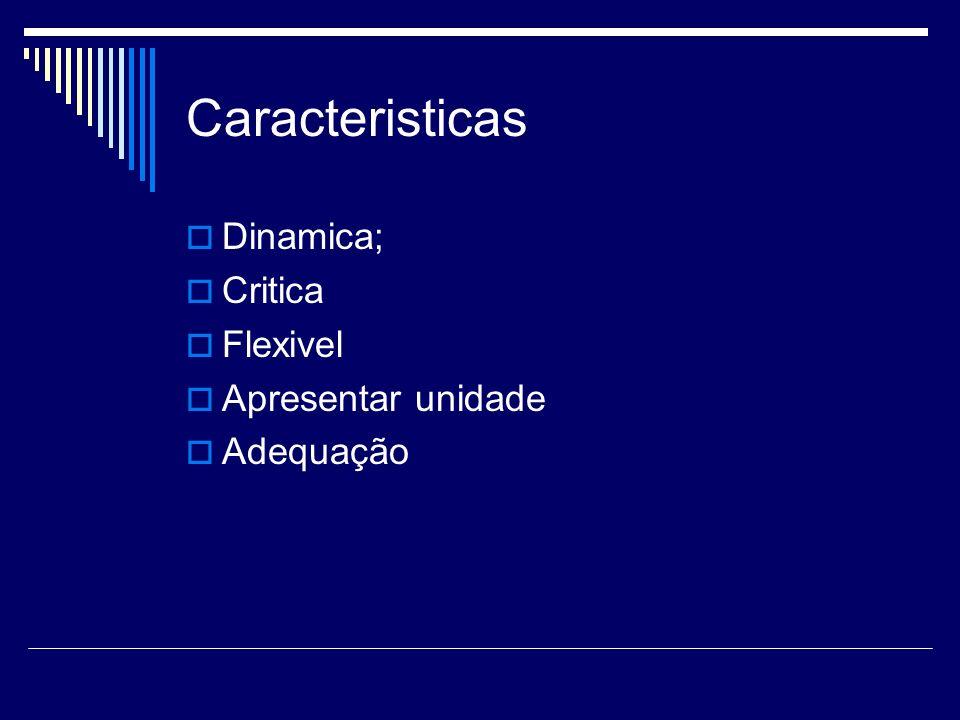Caracteristicas Dinamica; Critica Flexivel Apresentar unidade Adequação