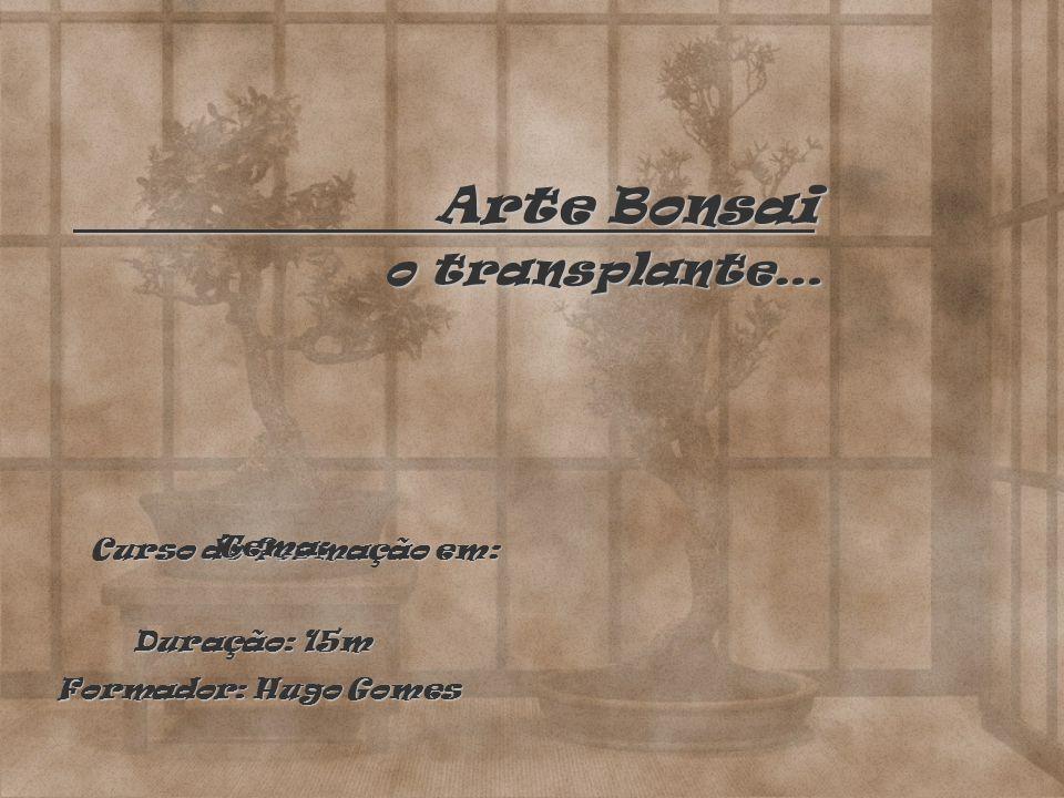 Arte Bonsai Arte Bonsai o transplante… Curso de formação em: Tema: Duração: 15m Formador: Hugo Gomes