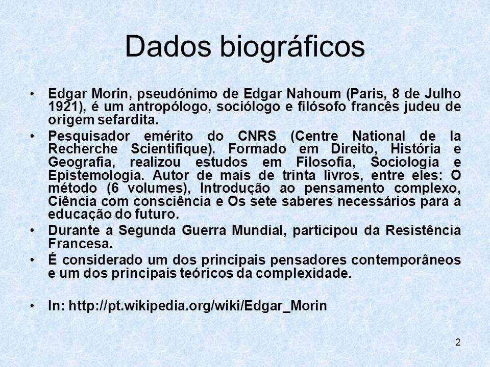 2 Dados biográficos Edgar Morin, pseudónimo de Edgar Nahoum (Paris, 8 de Julho 1921), é um antropólogo, sociólogo e filósofo francês judeu de origem s