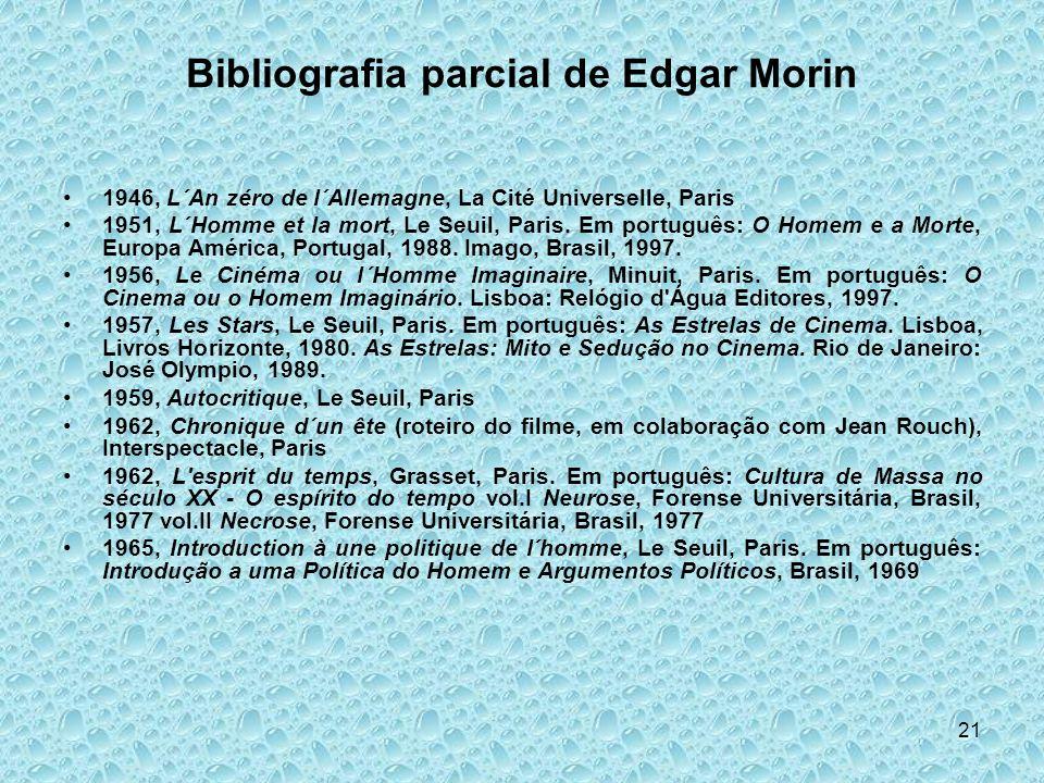 21 Bibliografia parcial de Edgar Morin 1946, L´An zéro de l´Allemagne, La Cité Universelle, Paris 1951, L´Homme et la mort, Le Seuil, Paris. Em portug