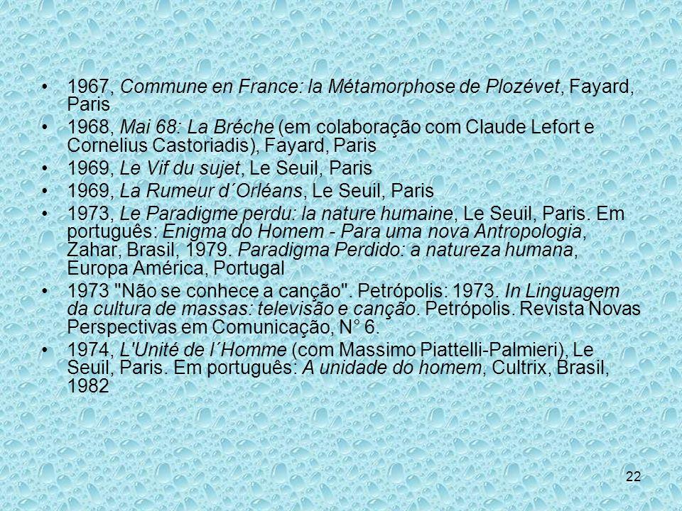 22 1967, Commune en France: la Métamorphose de Plozévet, Fayard, Paris 1968, Mai 68: La Bréche (em colaboração com Claude Lefort e Cornelius Castoriad