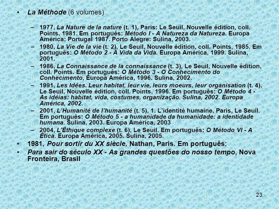 23 La Méthode (6 volumes) –1977, La Nature de la nature (t. 1), Paris: Le Seuil, Nouvelle édition, coll. Points, 1981. Em português: Método I - A Natu