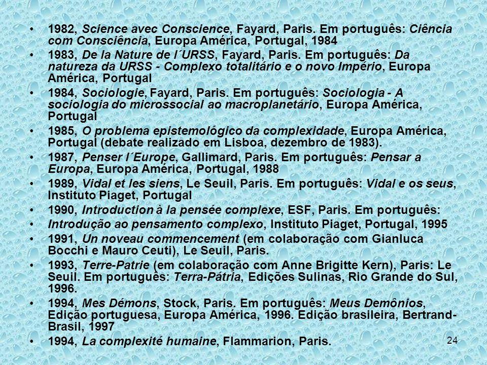 24 1982, Science avec Conscience, Fayard, Paris. Em português: Ciência com Consciência, Europa América, Portugal, 1984 1983, De la Nature de l´URSS, F
