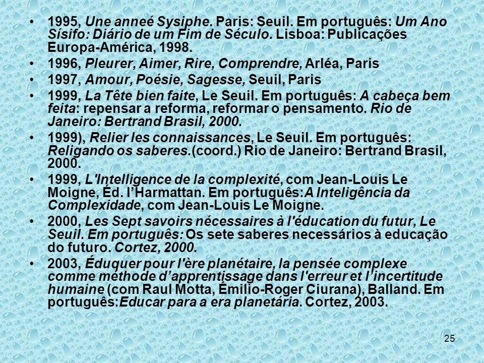 25 1995, Une anneé Sysiphe. Paris: Seuil. Em português: Um Ano Sísifo: Diário de um Fim de Século. Lisboa: Publicações Europa-América, 1998. 1996, Ple