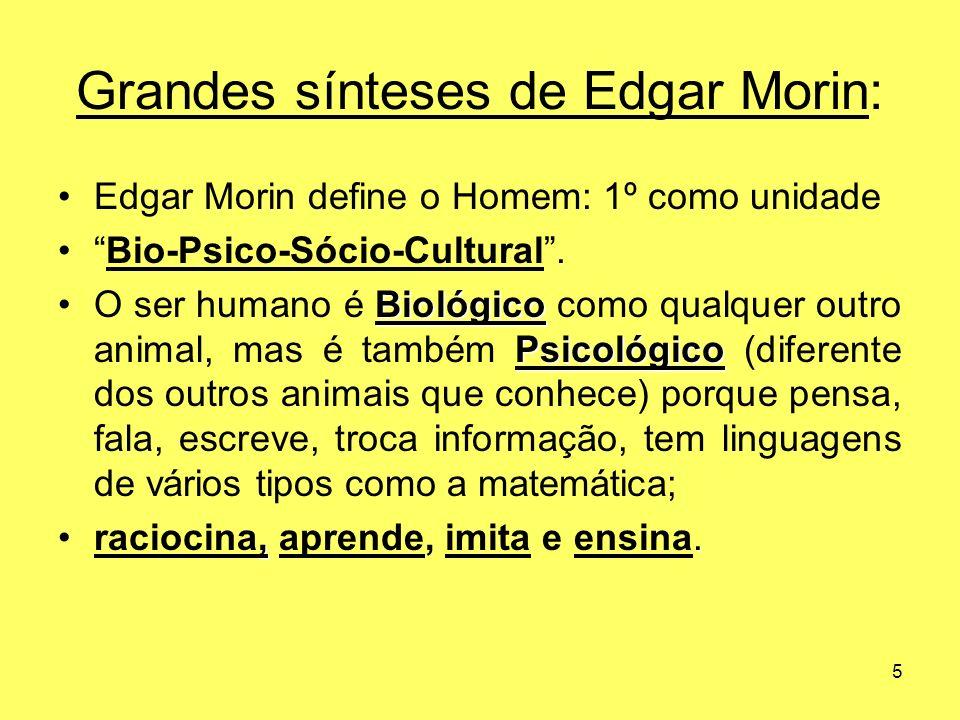5 Grandes sínteses de Edgar Morin: Edgar Morin define o Homem: 1º como unidade Bio-Psico-Sócio-Cultural. Biológico PsicológicoO ser humano é Biológico