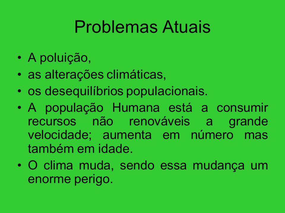 Problemas Atuais A poluição, as alterações climáticas, os desequilíbrios populacionais. A população Humana está a consumir recursos não renováveis a g