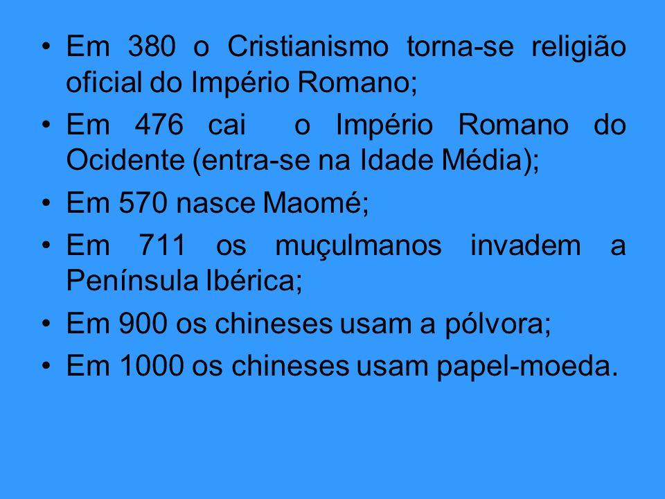 Em 380 o Cristianismo torna-se religião oficial do Império Romano; Em 476 cai o Império Romano do Ocidente (entra-se na Idade Média); Em 570 nasce Mao