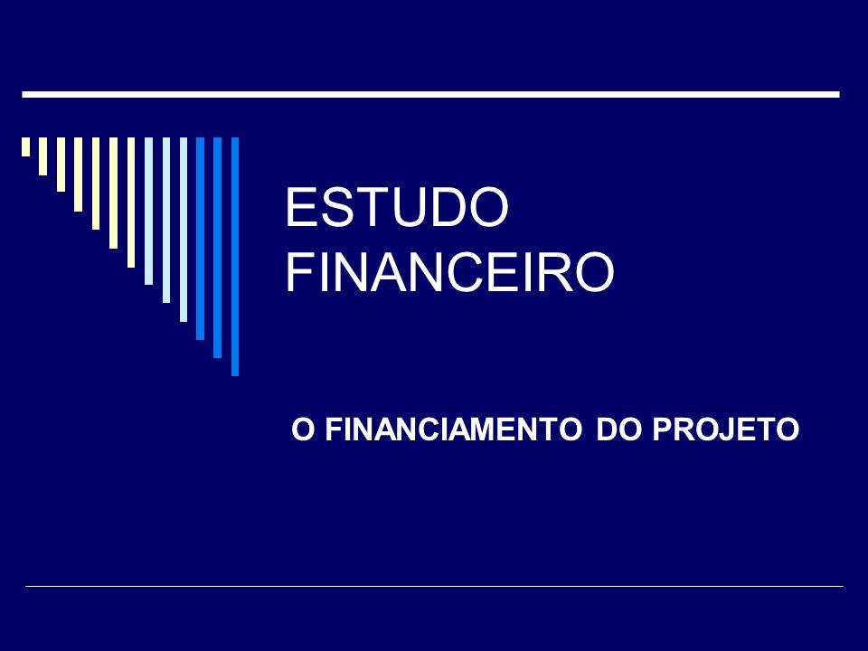 ESTUDO FINANCEIRO Para atingir este objetivo, o estudo financeiro examina os seguintes aspectos: Definição do capital de giro; Estruturação do investimento total; Estruturação do cronograma de desembolsos e definição do esquema de fontes.