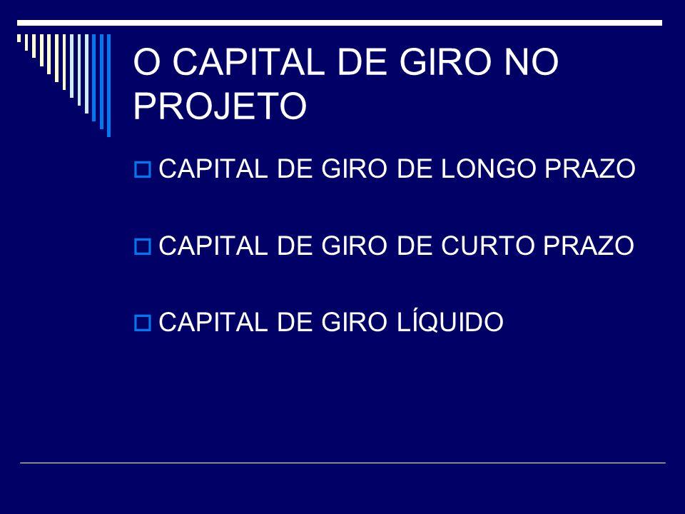 O CAPITAL DE GIRO NO PROJETO CAPITAL DE GIRO DE LONGO PRAZO CAPITAL DE GIRO DE CURTO PRAZO CAPITAL DE GIRO LÍQUIDO