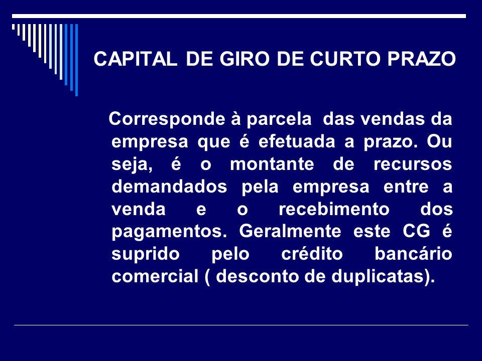 CAPITAL DE GIRO DE CURTO PRAZO Corresponde à parcela das vendas da empresa que é efetuada a prazo. Ou seja, é o montante de recursos demandados pela e