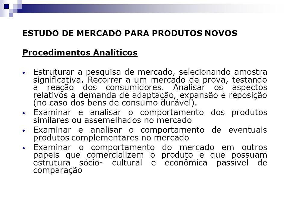 ESTUDO DE MERCADO PARA PRODUTOS NOVOS Procedimentos Analíticos Estruturar a pesquisa de mercado, selecionando amostra significativa. Recorrer a um mer