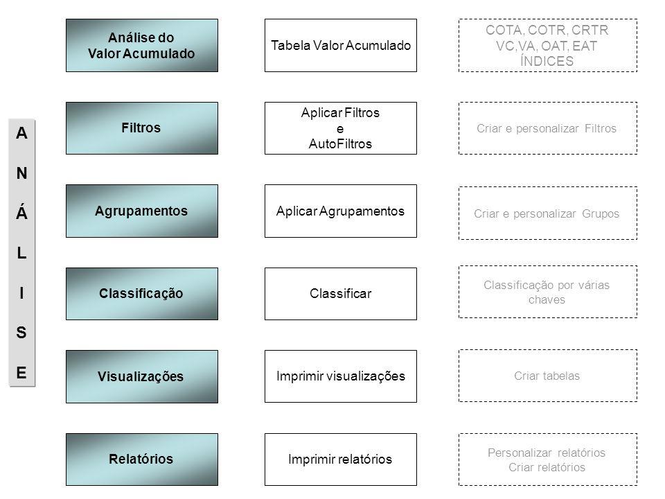 Análise do Valor Acumulado COTA, COTR, CRTR VC,VA, OAT, EAT ÍNDICES Tabela Valor Acumulado Filtros Criar e personalizar Filtros Aplicar Filtros e Auto