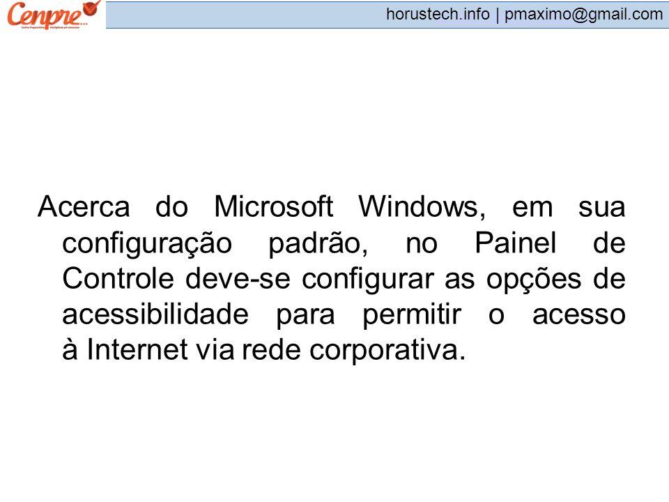 pmaximo@gmail.com horustech.info | pmaximo@gmail.com Acerca do Microsoft Windows, em sua configuração padrão, no Painel de Controle deve-se configurar