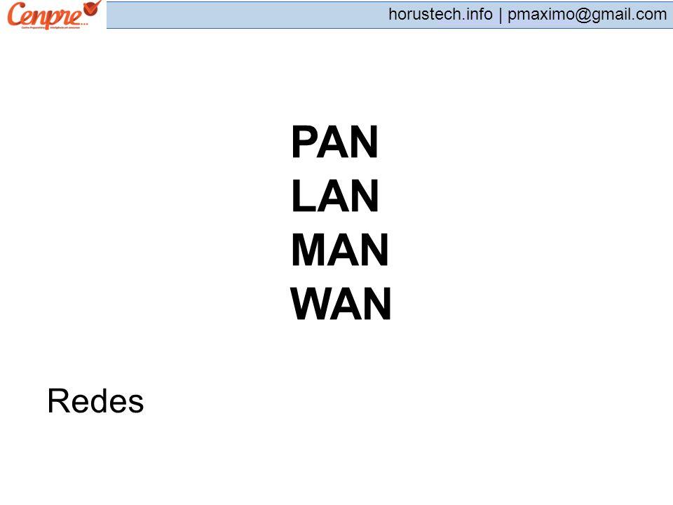 pmaximo@gmail.com horustech.info | pmaximo@gmail.com Redes PAN LAN MAN WAN