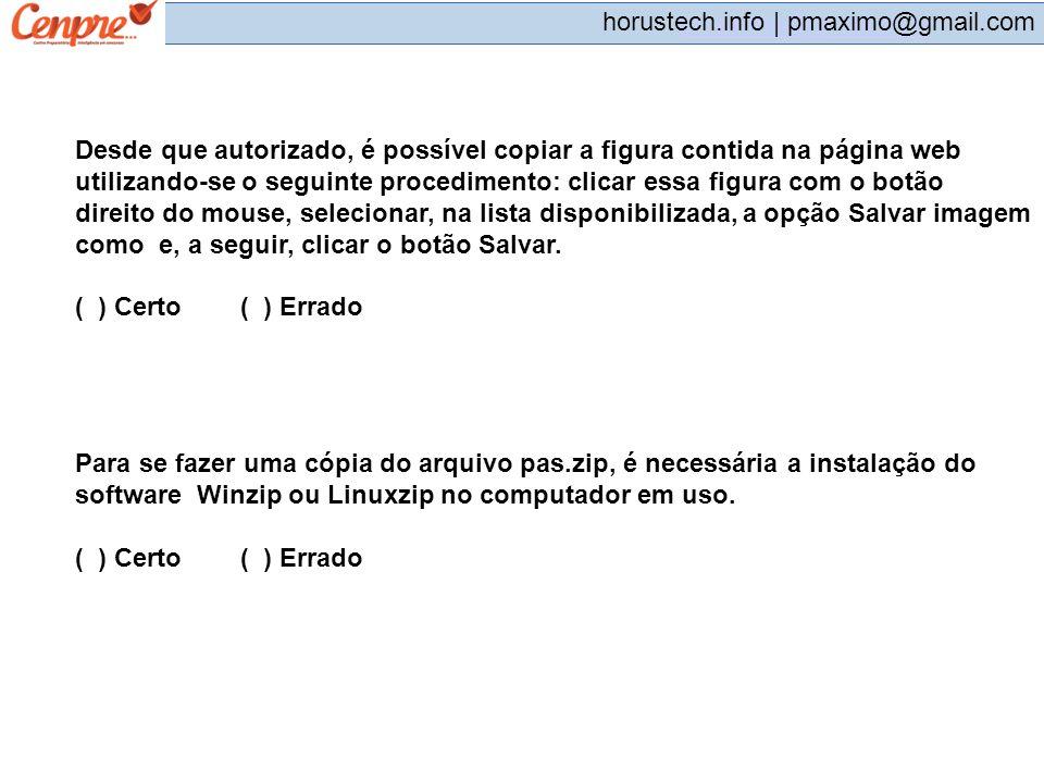 pmaximo@gmail.com horustech.info | pmaximo@gmail.com Desde que autorizado, é possível copiar a figura contida na página web utilizando-se o seguinte p